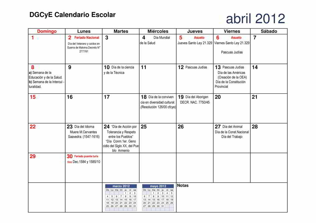 Files Wordpress   2012 01 Calendario 2012 Abril Escolar Dgcye Pdf
