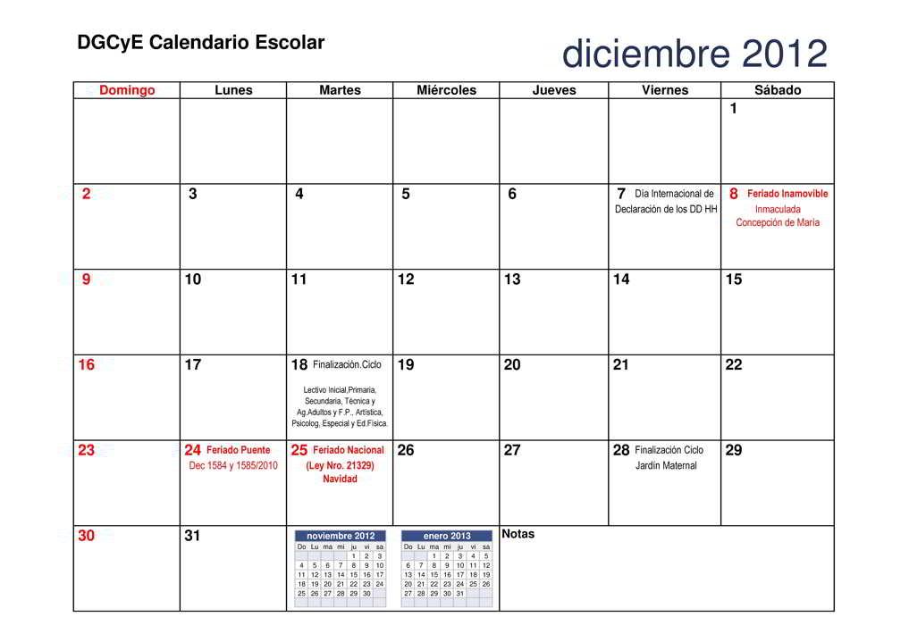 Agenda y calendario escolar DGCyE, Febrero 2012- diciembre 2012