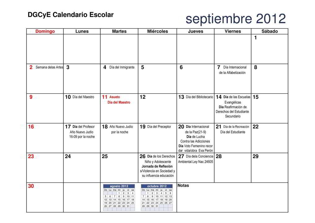 DGCyE.: CALENDARIO ESCOLAR MES DE SEPTIEMBRE 2012 « PARA JEFATURAS ...