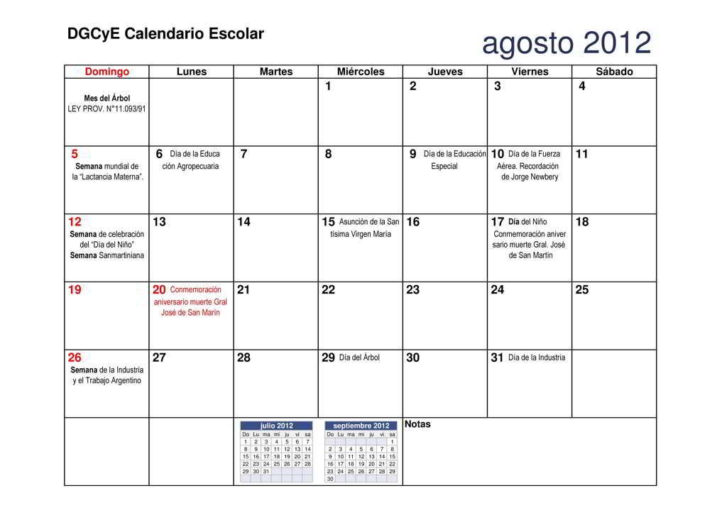 Calendario 2012agosto Escolar Dgcye