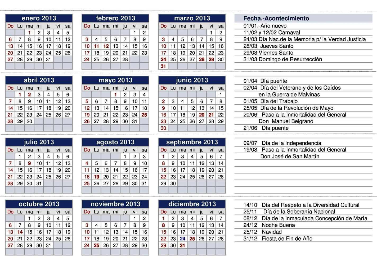 ARGENTINA: Calendario 2013 II « PARA JEFATURAS REGIONALES ...
