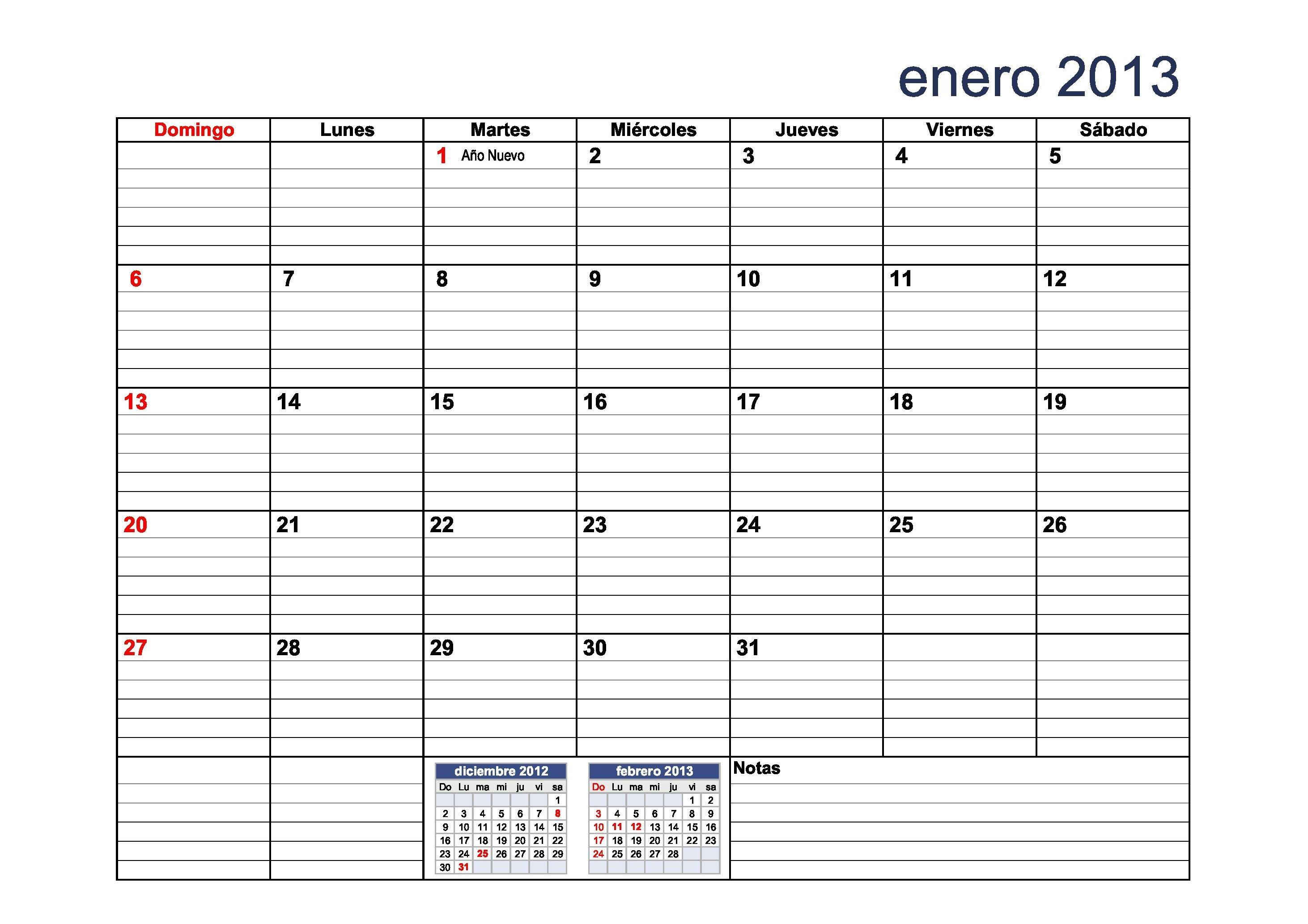 calendario 2013 para completar con el calendario docente con rayas
