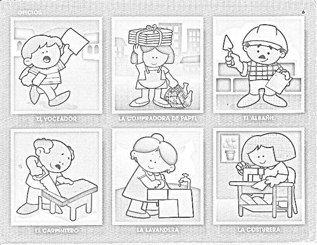 90 FIGURITAS DE OFICIOS PARA COLOREAR (INFANTIL) « PARA JEFATURAS ...