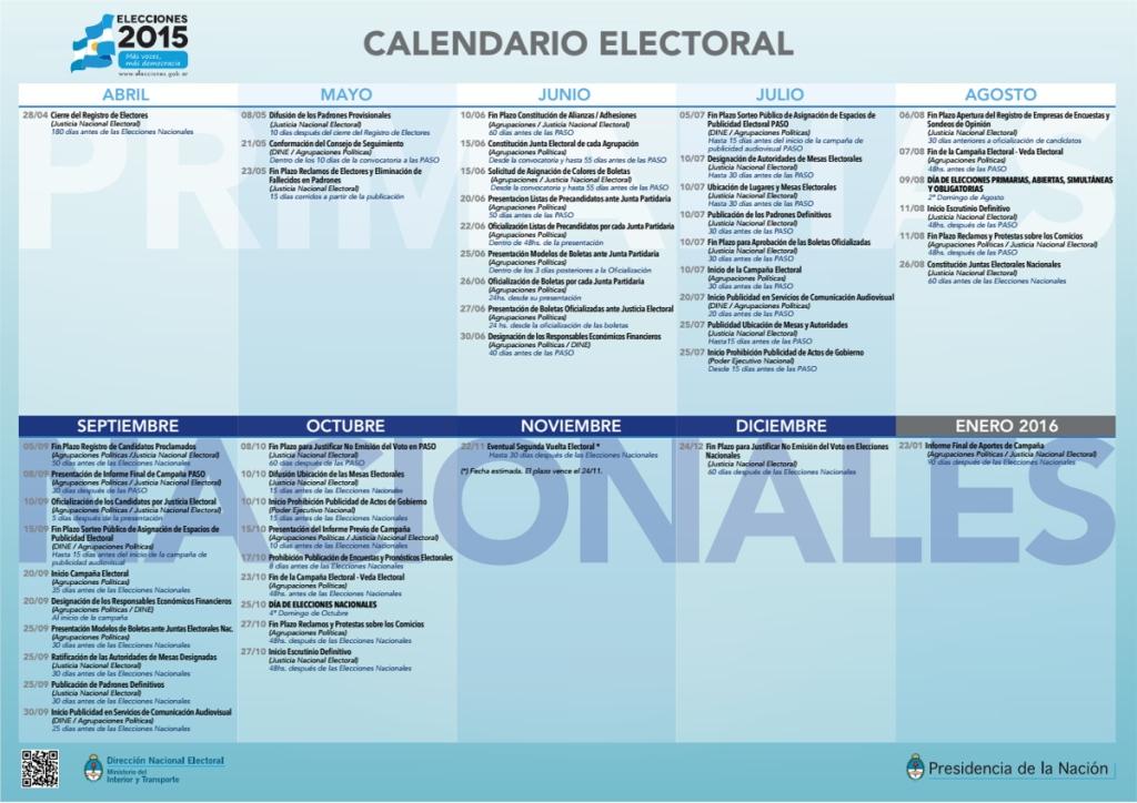calendario eelctoral 2015