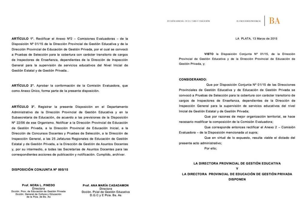 Disp. Conjunta N°   05 - 15- EDUCACION INICIAL-  Inspectores RECTIFICATORIA