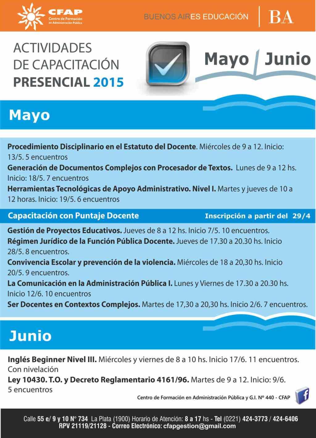 Capacitaciones MAYO - JUNIO Presenciales