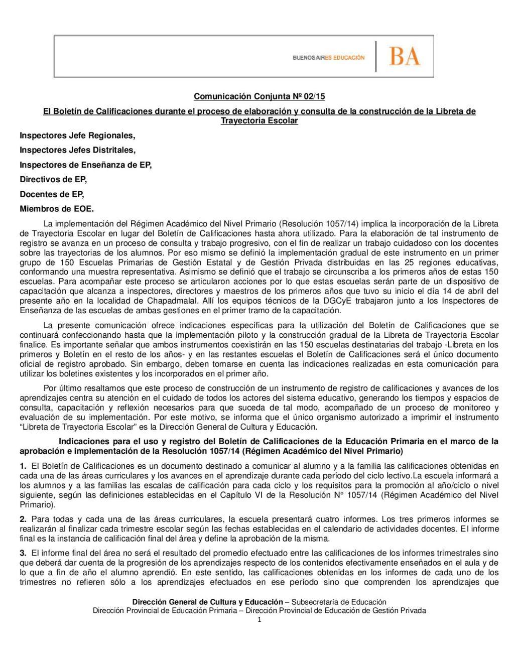 COMUNICACION CONJUNTA N° 02 2015 EL USO DEL BOLETÍN EN EL MARCO DE LA IMPLEMENTACIÓN DEL REGIMEN ACADEMICO