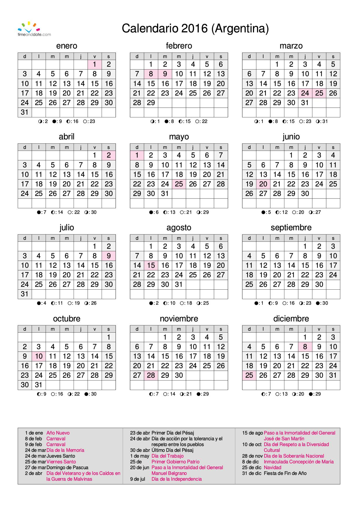Calendario 2016 Argentina Para Imprimir