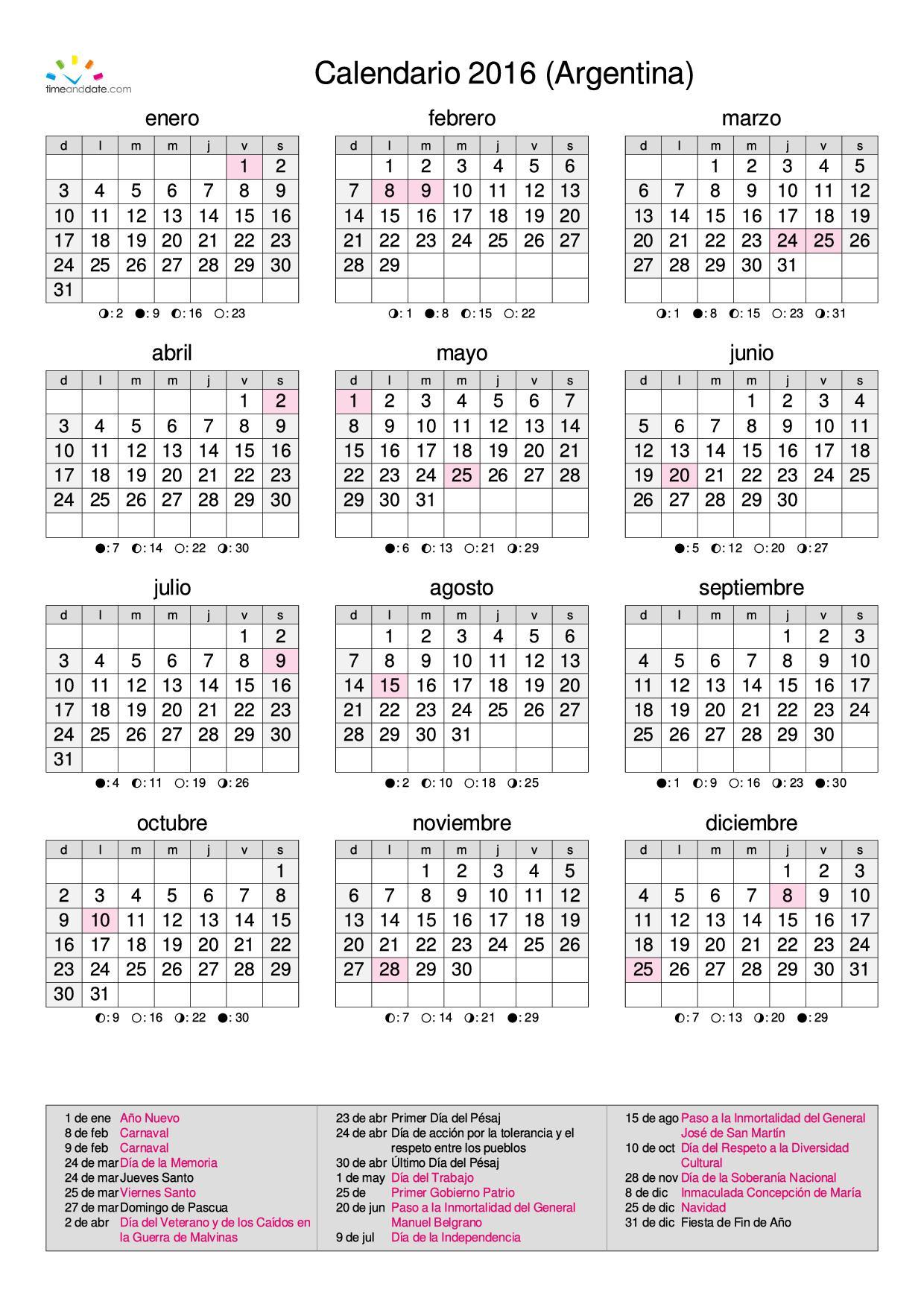 Calendario 2016 Argentina.Calendario Calendarios 2016 Para Argentina 3 Anuales