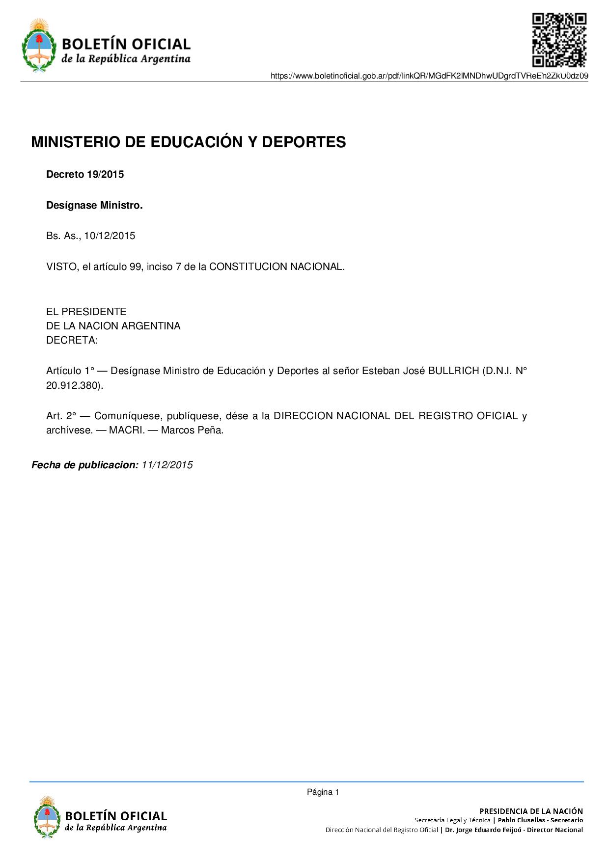 competencias del ley de ministerios decreto 13 2015