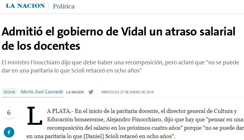 Admitió el gobierno de Vidal un atraso salarial de los docentes - 27.01.2016 - LA NACION