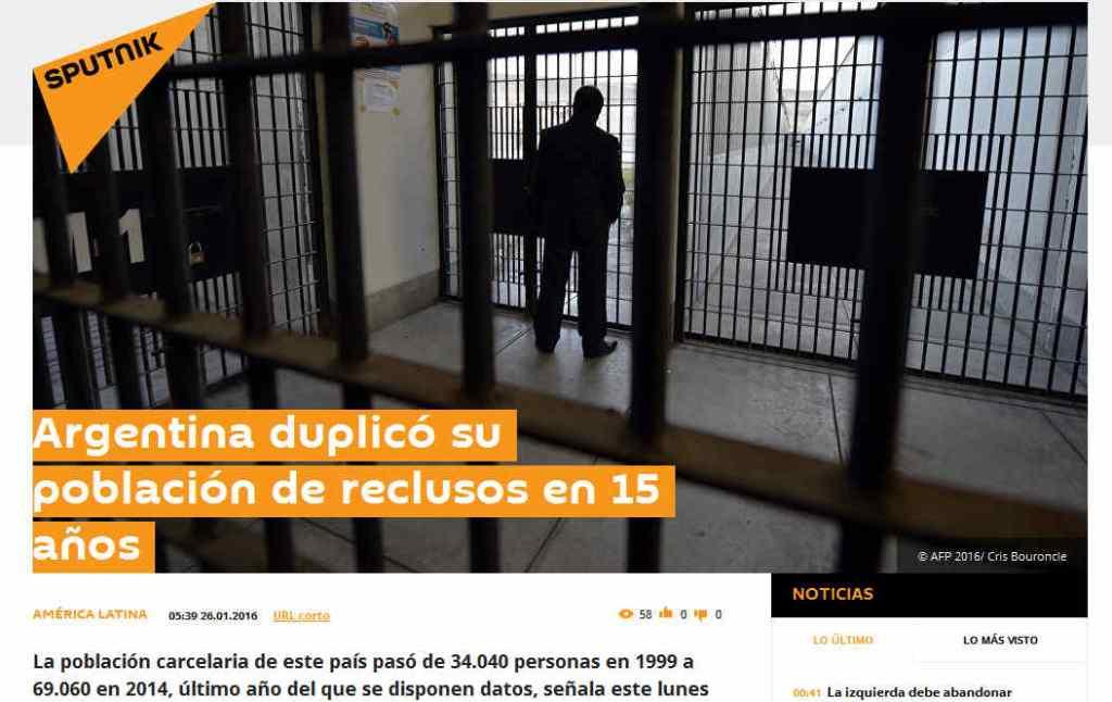 Argentina duplicó su población de reclusos en 15 años