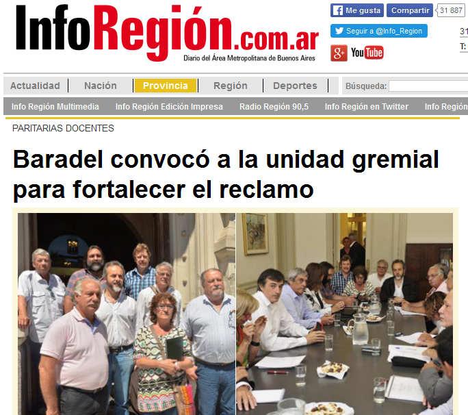 Baradel convocó a la unidad gremial para fortalecer el reclamo - inforegion.com.ar