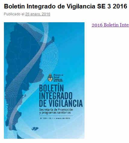 Boletin Integrado de Vigilancia SE 3 2016 - Dto de Est. y Epidemiologia