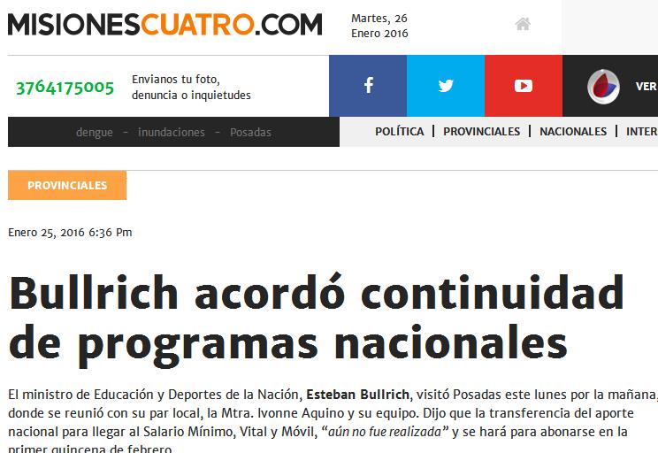 Bullrich acordó continuidad de programas nacionales - Misiones Cuatro