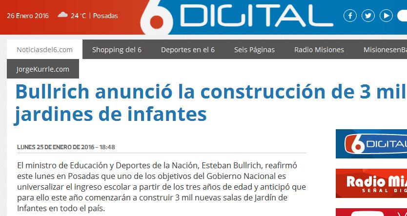 Bullrich anunció la construcción de 3 mil jardines de infantes- Noticiasdel6.com