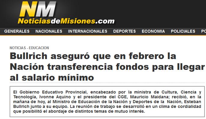 Bullrich aseguró que en febrero la Nación transferencia fondos para llegar al salario mínimo - Noticias de Misiones - Educacions
