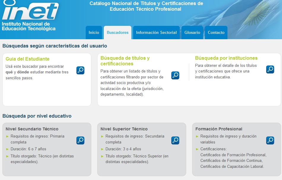 Buscadores - Catálogo Nacional de Títulos y Certificaciones de Educación Técnico Profesional