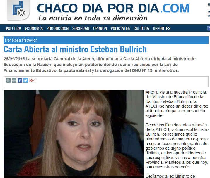 Carta Abierta al ministro Esteban Bullrich - Opinion - Chaco dia por dia