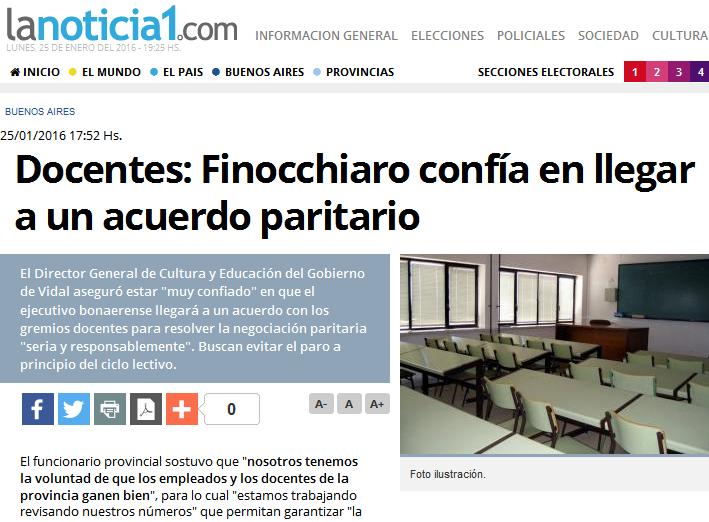 Docentes Finocchiaro confía en llegar a un acuerdo paritario - LaNoticia1.com