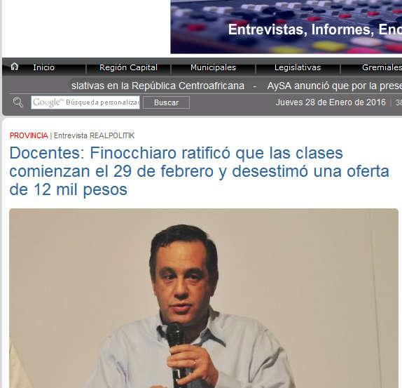 Docentes Finocchiaro ratificó que las clases comienzan el 29 de febrero y desestimó una oferta de 12 mil pesos