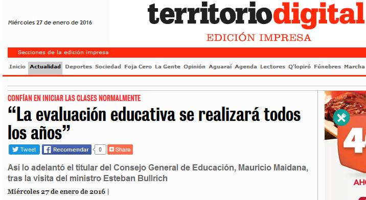 """""""La evaluación educativa se realizará todos los años"""""""