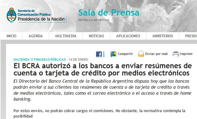 El BCRA autorizó a los bancos a enviar resúmenes de cuenta o tarjeta de crédito por medios electrónicos