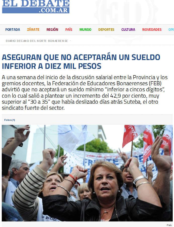 El Debate - Portal Decano de Noticias de Zárate - Aseguran que no aceptarán un sueldo inferior a diez mil pesos