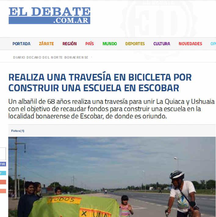 El Debate - Portal Decano de Noticias de Zárate - Realiza una travesía en bicicleta por construir una escuela en Escobar
