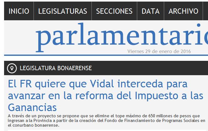 El FR quiere que Vidal interceda para avanzar en la reforma del Impuesto a las Ganancias - Legislatura Bonaerense - Parlamentario