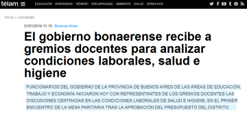 El gobierno bonaerense recibe a gremios docentes para analizar condiciones laborales, salud e higiene - Télam - Agencia Nacional de Noticias