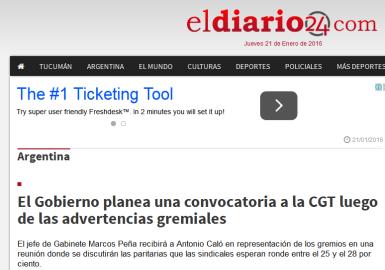El Gobierno planea una convocatoria a la CGT luego de las advertencias gremiales - El Diario 24