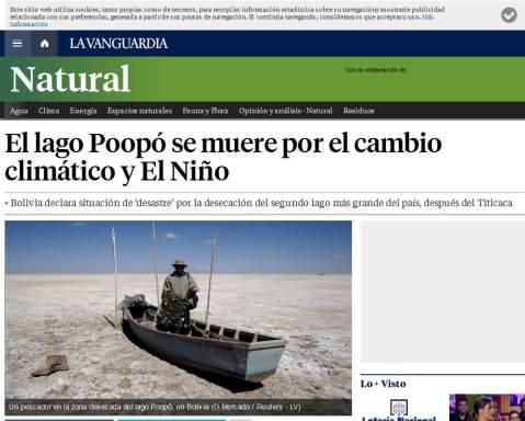 El lago Poopó, Bolivia, desecado a causa del cambio climático y el fenómeno El Niño
