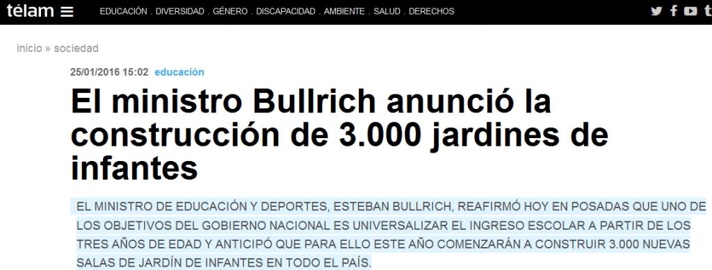 El ministro Bullrich anunció la construcción de 3.000 jardines de infantes - Télam - Agencia Nacional de Noticias