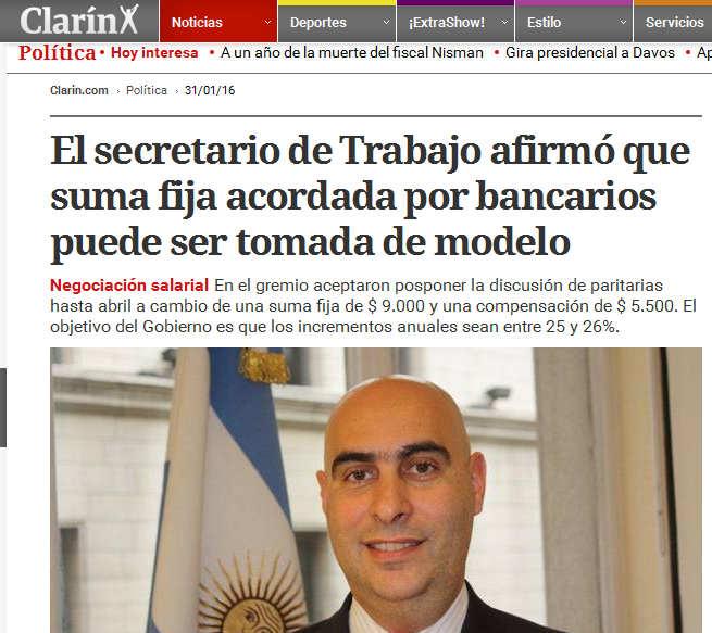 El secretario de Trabajo afirmó que suma fija acordada por bancarios puede ser tomada de modelo(1)