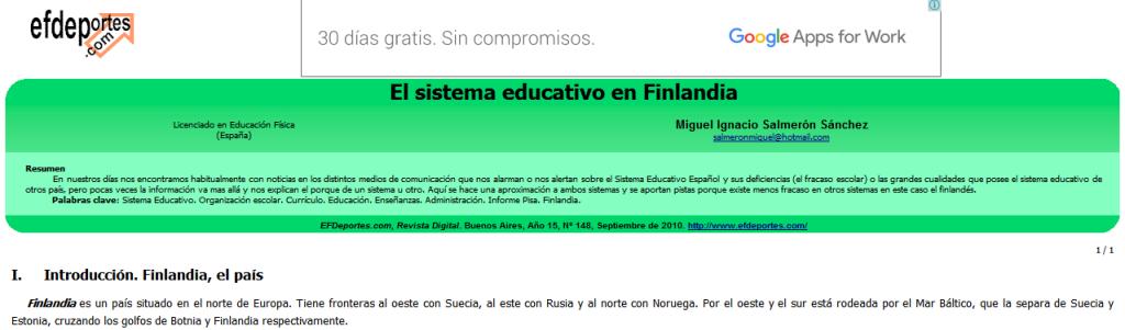 El sistema educativo en Finlandia