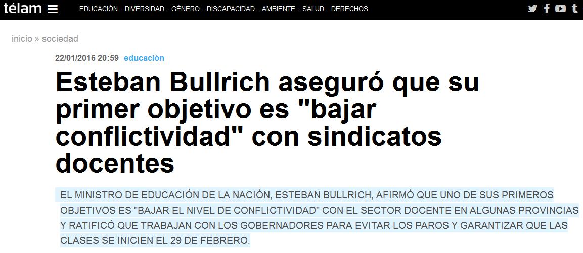 Esteban Bullrich aseguró que su primer objetivo es 'bajar conflictividad' con sindicatos docentes - Télam - Agencia Nacional de Noticias