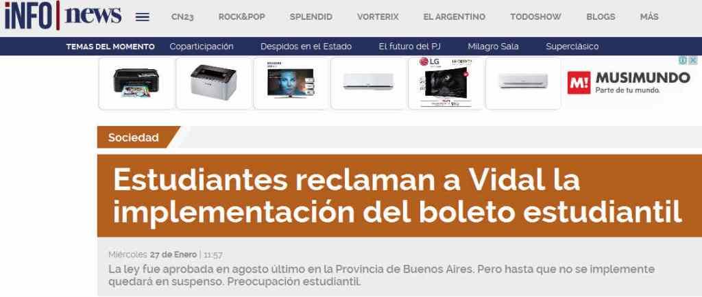 Estudiantes reclaman a Vidal la implementación del boleto estudiantil - Sociedad - INFOnews