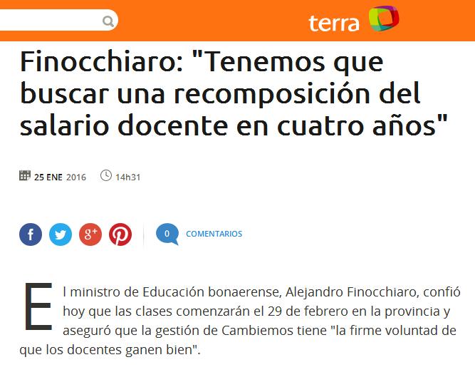 Finocchiaro 'Tenemos que buscar una recomposición del salario docente en cuatro años'