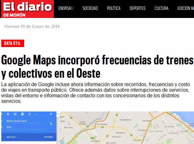 Google Maps incorporó frecuencias de trenes y colectivos en el Oeste