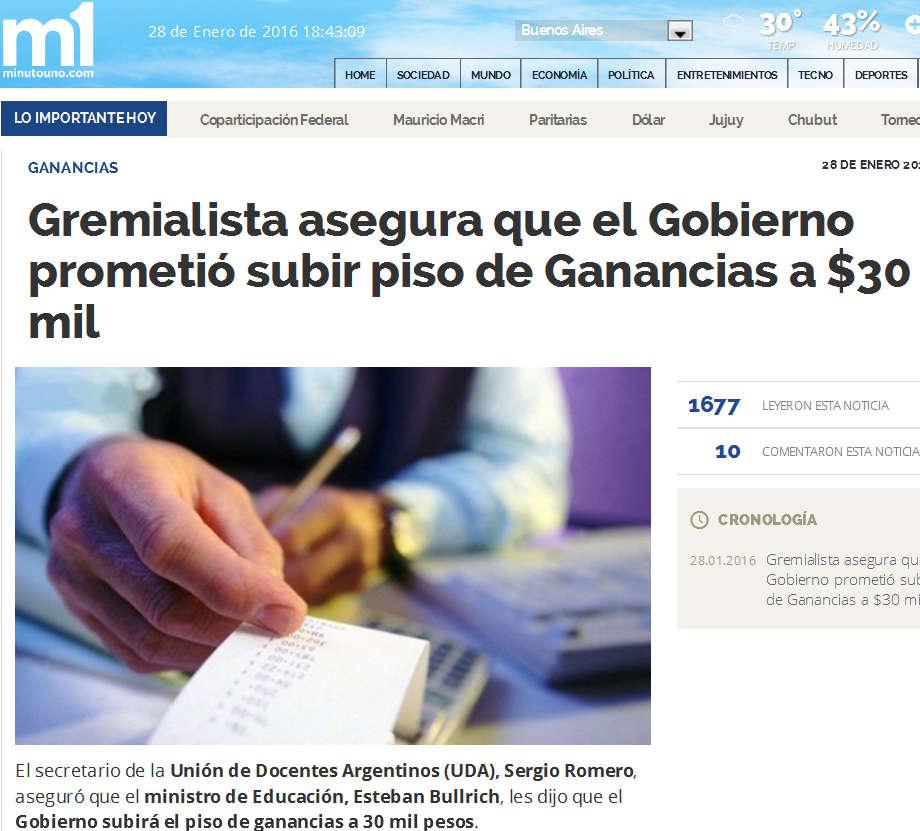 Gremialista asegura que el Gobierno prometió subir piso de Ganancias a $30 mil - Ganancias