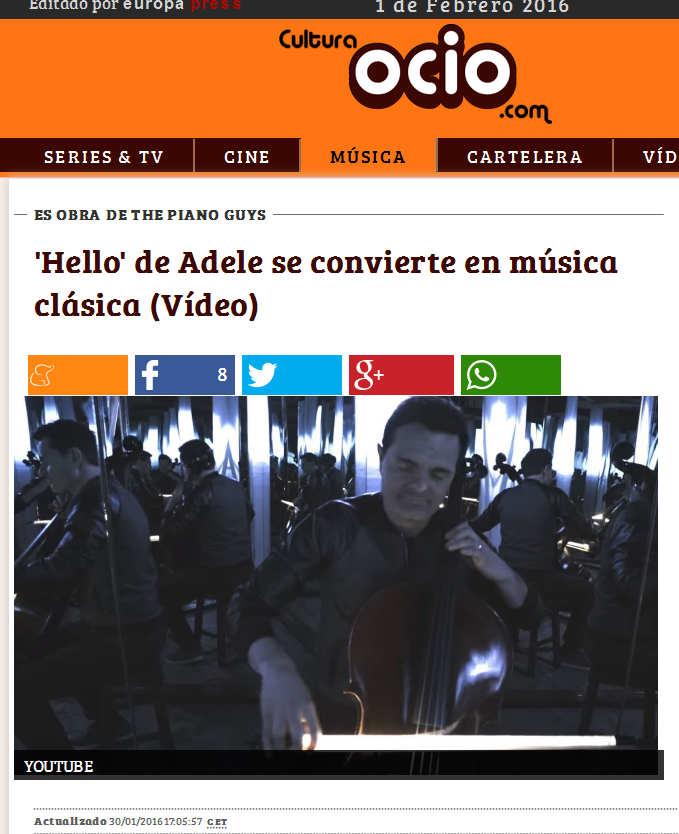 'Hello' de Adele se convierte en música clásica (Vídeo)