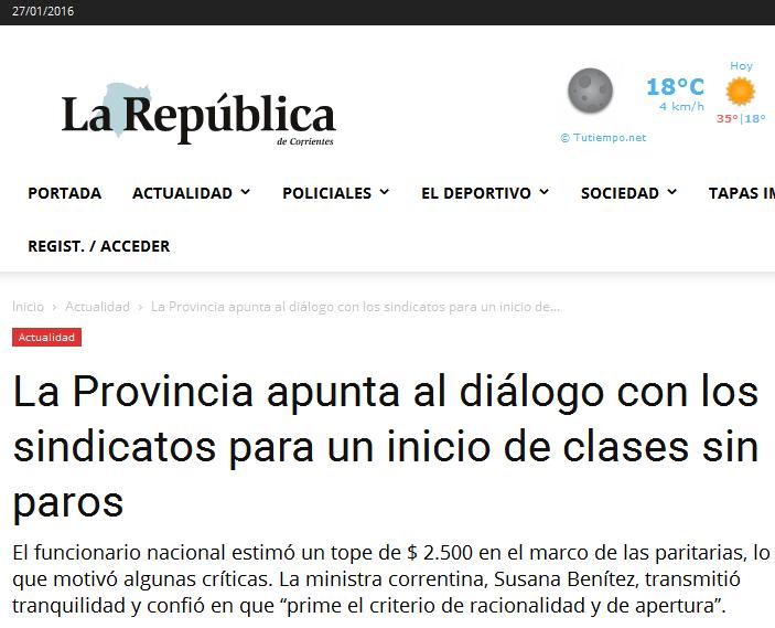 La Provincia apunta al diálogo con los sindicatos para un inicio de clases sin paros - Diario La República de Corrientes
