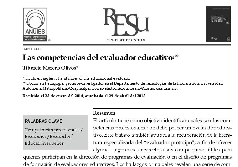Las competencias del evaluador educativo1 - 1-s2.0-S0185276015000916-main.pdf
