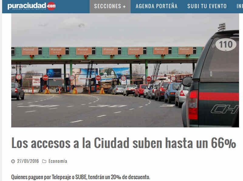 Los accesos a la Ciudad suben hasta un 66% – Pura Ciudad - Noticias de Buenos Aires