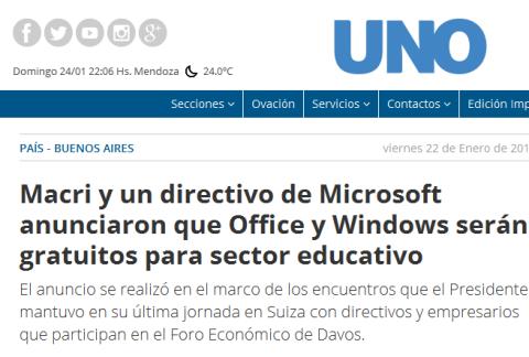 Macri y un directivo de Microsoft anunciaron que Office y Windows serán gratuitos para sector educativo - Buenos Aires, docentes, Mauricio Macri, tecnología