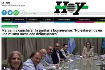 """Marcan la cancha en la paritaria bonaerense """"No estaremos en una misma mesa con delincuentes"""" - Diario Hoy"""