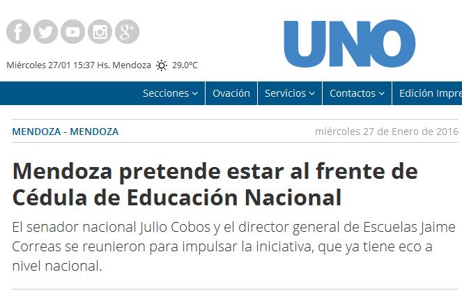 Mendoza pretende estar al frente de Cédula de Educación Nacional - Mendoza, Esteban Bullrich, Jaime Correas, Julio Cobos, sistema educativo