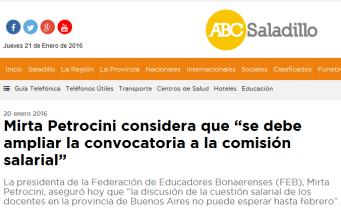 """Mirta Petrocini considera que """"se debe ampliar la convocatoria a la comisión salarial"""" - ABC Saladillo - Noticias de nuestra ciudad"""