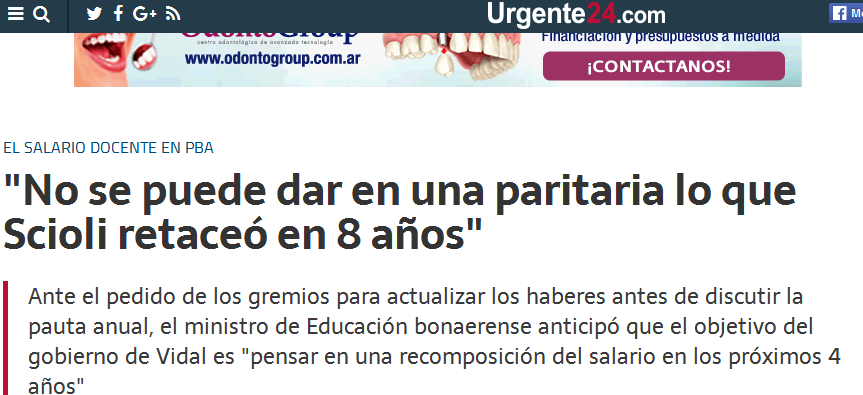 Noticias en EL BONAERENSE 'No se puede dar en una paritaria lo que Scioli retaceó en 8 años' - Urgente24